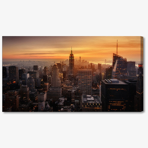 M1401 - Quadro moderno NYC grattacieli tramonto