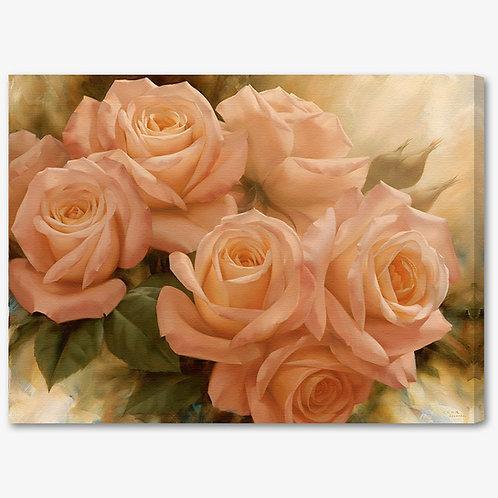 M1074 - Quadro moderno floreale mazzo di rose rosa