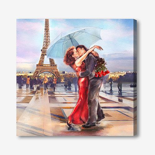 ADL108 - Quadro moderno innamorati a Parigi Torre Eiffel