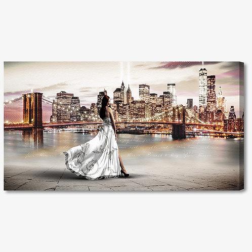 M1328 - Quadro moderno NYC ponte di brooklyn donna abito bianco
