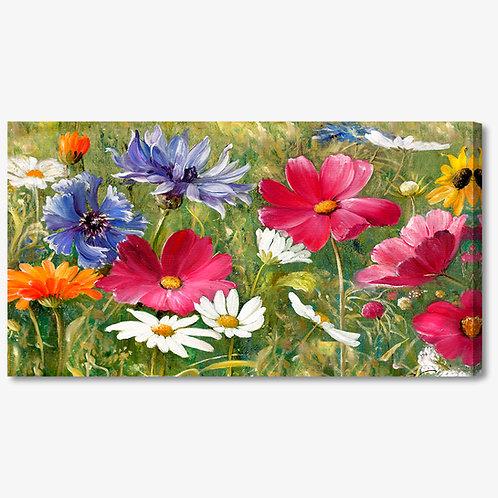 M878 - Quadro moderno campo di fiori colorati