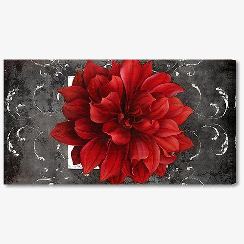 M385 - Quadro moderno fiore rosso su fondo nero