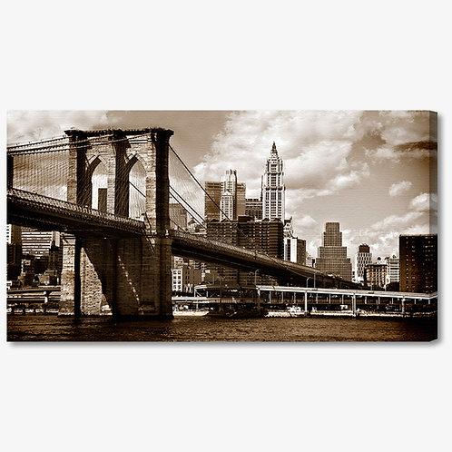 M034 - Quadro moderno ponte brooklyn NYC seppia