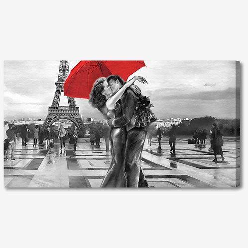 ADL104 - Quadro moderno innamorati a Parigi Torre Eiffel bianco e nero