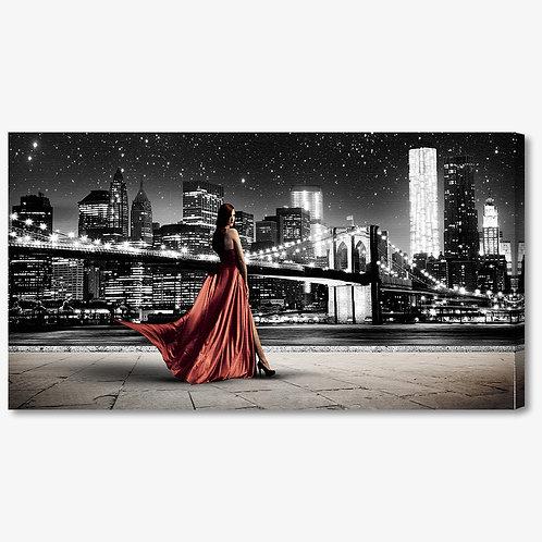 M1327 - Quadro moderno NYC ponte di brooklyn donna abito rosso