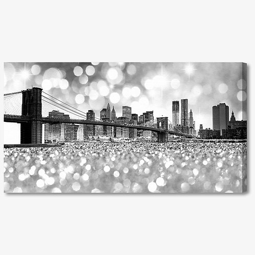M1014 - Quadro moderno NYC ponte di brooklyn bianco e nero