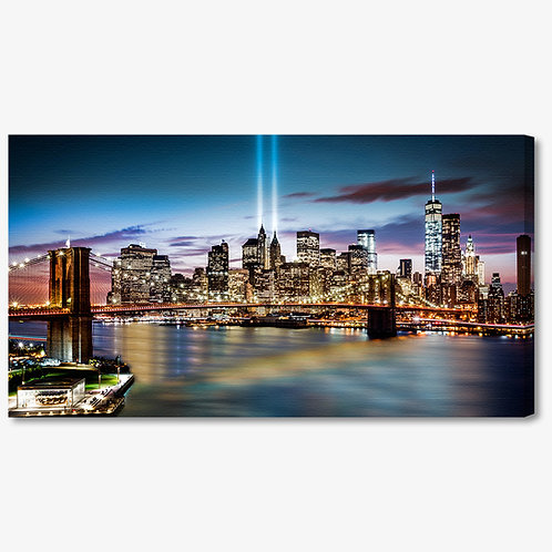 M1143 - Quadro moderno NYC ponte di brooklyn illuminato