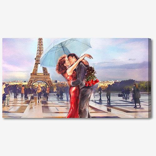 ADL109 - Quadro moderno innamorati a Parigi Torre Eiffel