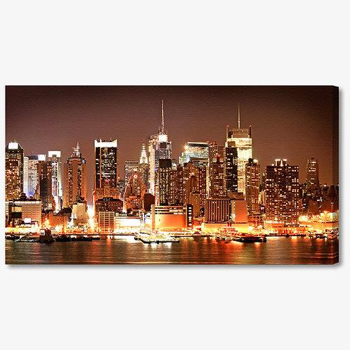 M233 - Quadro moderno skyline NYC colori caldi