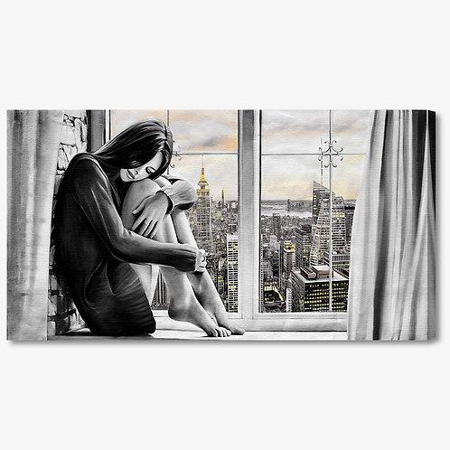 M1239 - Quadro moderno donna seduta alla finestra bianco e nero
