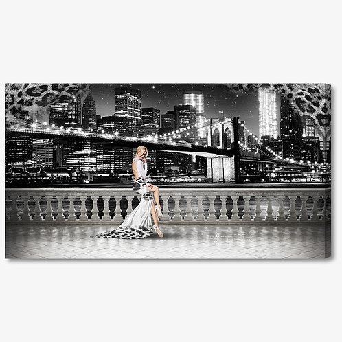 M1329 - Quadro moderno NYC ponte di brooklyn donna abito elegante