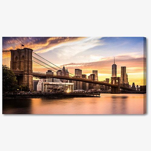 M1137 - Quadro moderno NYC ponte di brooklyn colori caldi