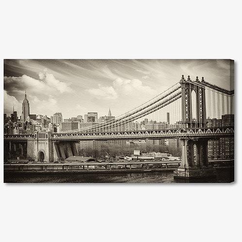 M853 - Quadro moderno NYC ponte di brooklyn seppia