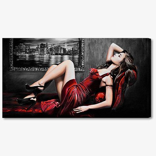 M1242 - Quadro moderno donna sul divano con abito elegante rosso
