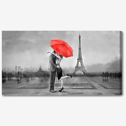 ADL103 - Quadro moderno innamorati a Parigi Torre Eiffel bianco e nero