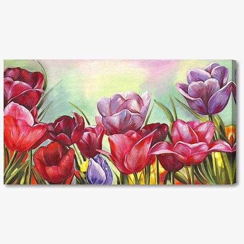 M478 - Quadro moderno campo di tulipani colorati