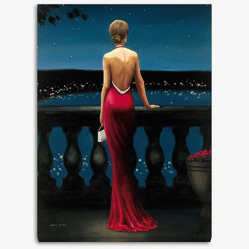 WA110 - Quadro moderno donna elegante con abito rosso