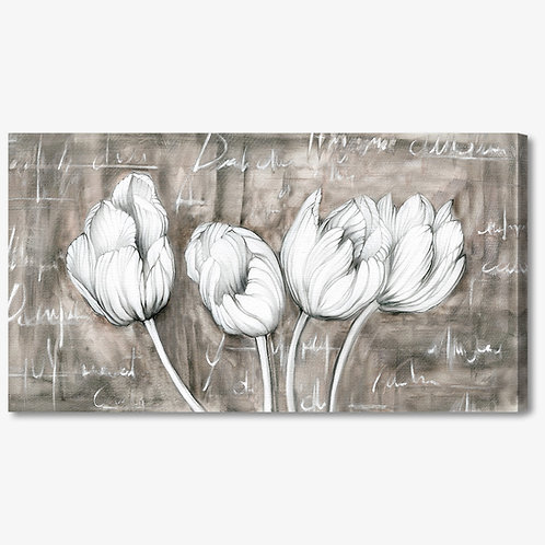 M883 - Quadro moderno floreale tulipani bianchi