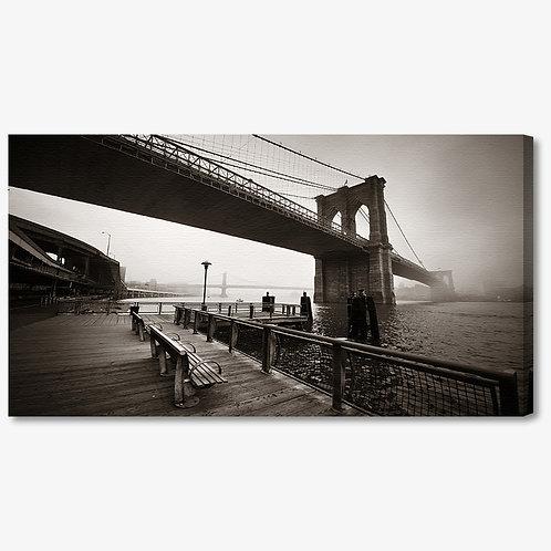 M1409 - Quadro moderno NYC ponte di brooklyn seppia