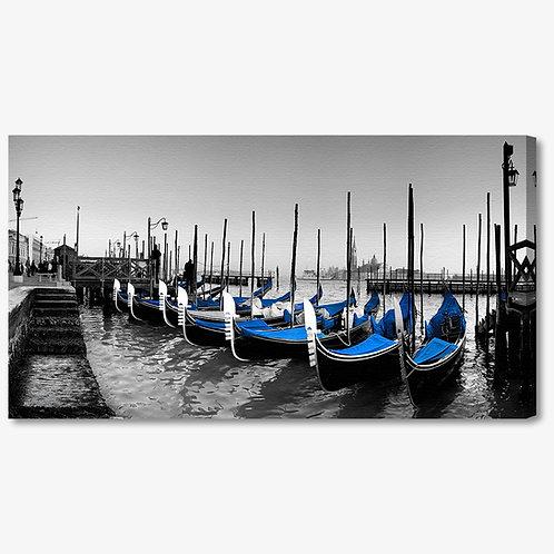 M136 - Quadro moderno gondole Venezia blu