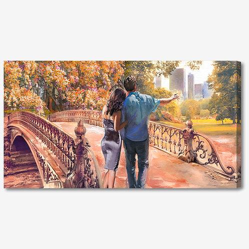 ADL098 - Quadro moderno innamorati in passeggiata