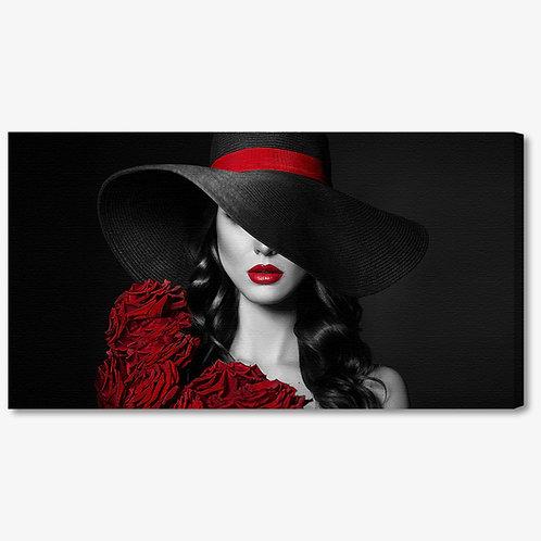 M1250 - Quadro moderno donna con cappello e labbra rosse