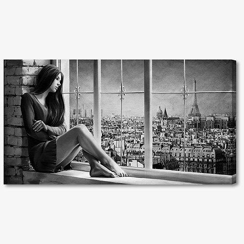 M1243 - Quadro moderno donna seduta alla finestra bianco e nero