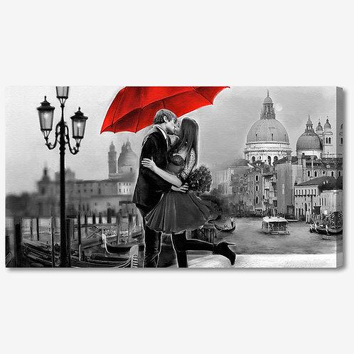 ADL107 - Quadro moderno innamorati a Venezia bianco e nero