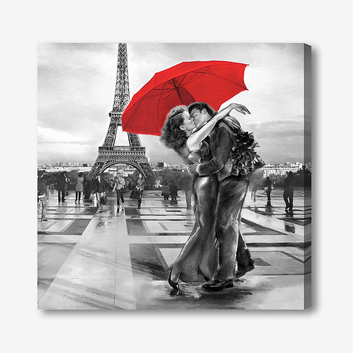 ADL105 - Quadro moderno innamorati a Parigi Torre Eiffel bianco e nero