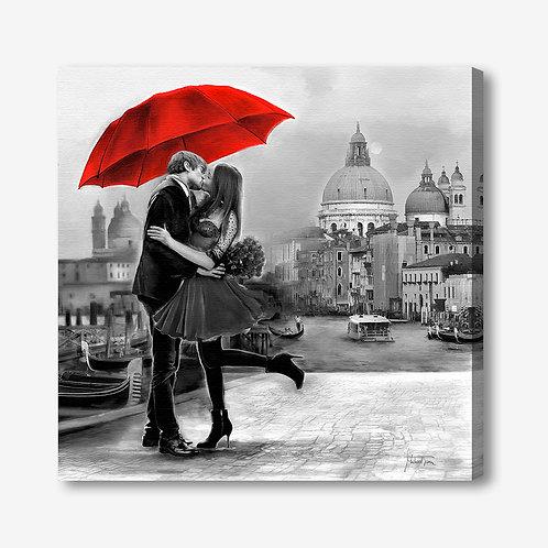 ADL106 - Quadro moderno innamorati a Venezia bianco e nero