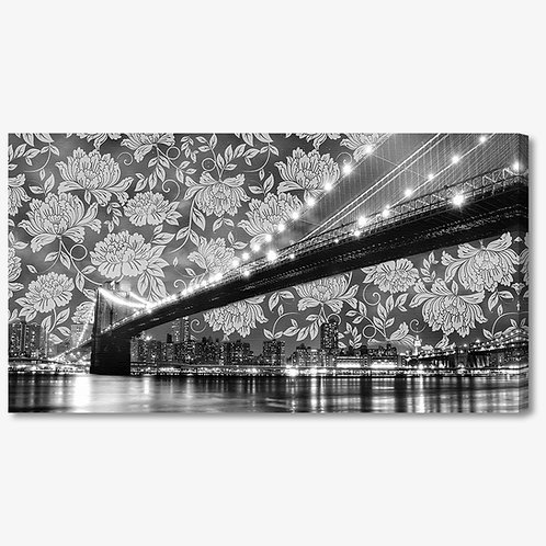 M945 - Quadro moderno NYC ponte di brooklyn motivi floreali