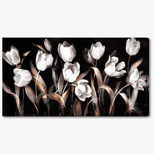 M716 - Quadro moderno floreale tulipani bianchi