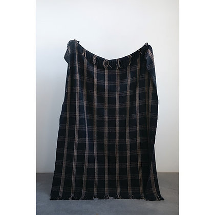 Woven Cotton Blend Throw with Fringe, Black & Tan Plaid