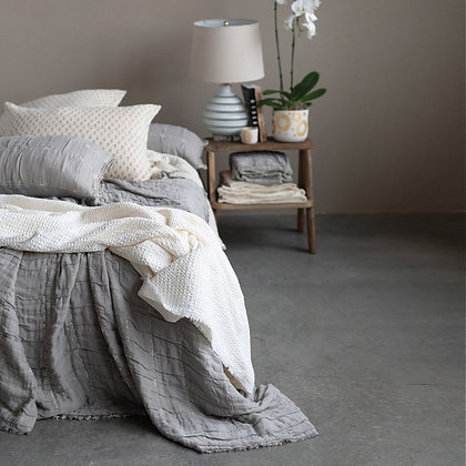 Cotton Stitched Bed Coverlet W/ 2 Shams