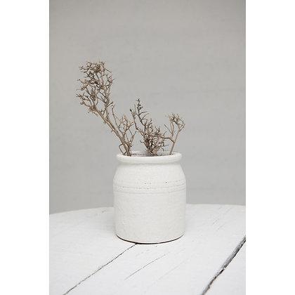 Decorative Coarse Terra-cotta Crock, Distressed White Volcano Glaze