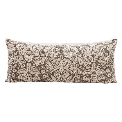 Cotton Chenille Jacquard Lumbar Pillow, Brown & Cream