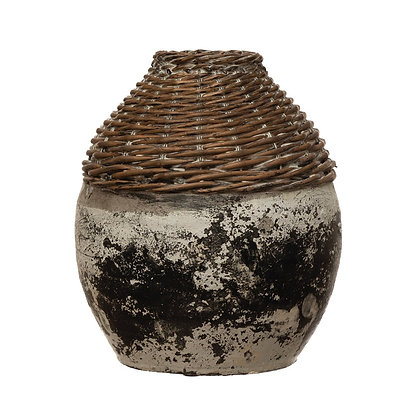 Hand-Woven Rattan & Clay Vase, Distressed White