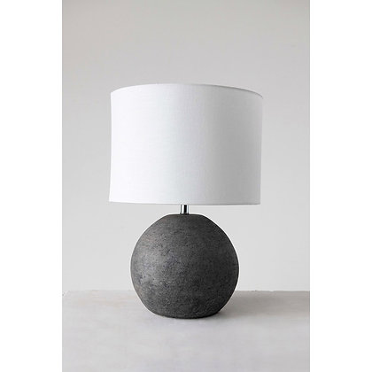 Terra-cotta Table Lamp w/ Canvas Shade, Distressed Iron