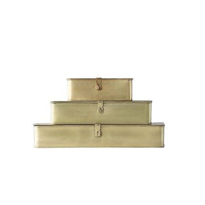 Decorative Brass Boxes, Set of 3