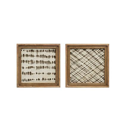 Square Wood Framed Handmade Paper Wall Decor, Set of 2