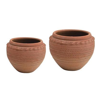 Textured Terra-cotta Pot, 2 Sizes