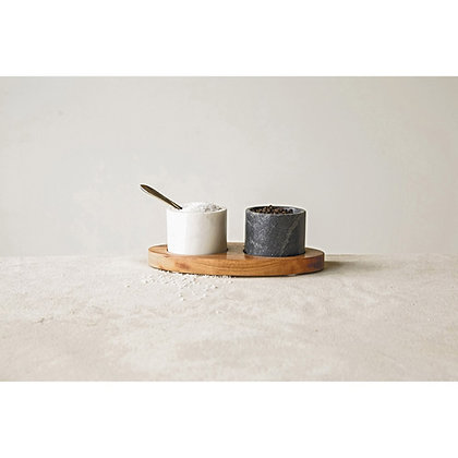 Marble Salt & Pepper holder w/ brass spoon and mango tray