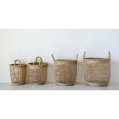 Round Hand-Woven Natural Seagrass Baskets w/ Handles