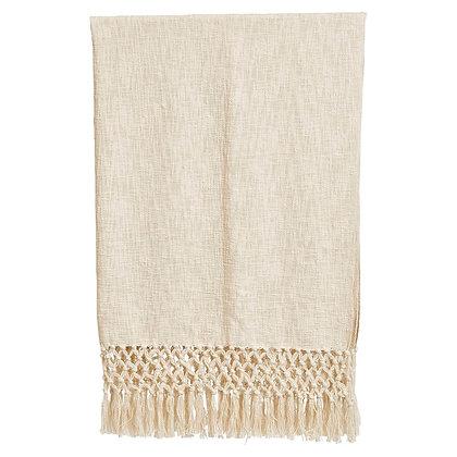Crochet Woven Cotton Throw, Cream