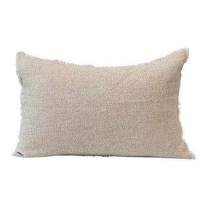 Linen Blend Lumbar Pillow w/ Frayed Edges, Natural