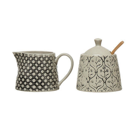 Hand-Stamped Stoneware Creamer & Sugar Jar w/ Lid, Black & Cream Color