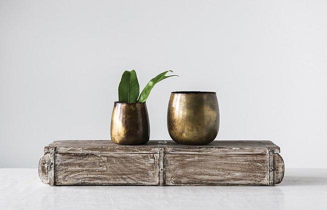 Distressed Brass Planter