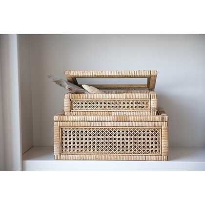 Woven Rattan & Wood Display Boxes w/ Glass Lid, Set of two