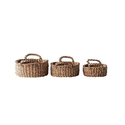 Oval Natural Woven Seagrass Basket, Set of 3