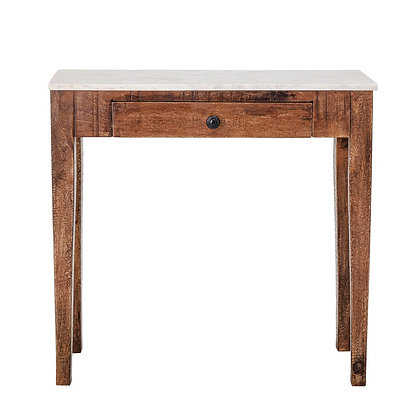 Wood Table w/ Marble Top & Drawer